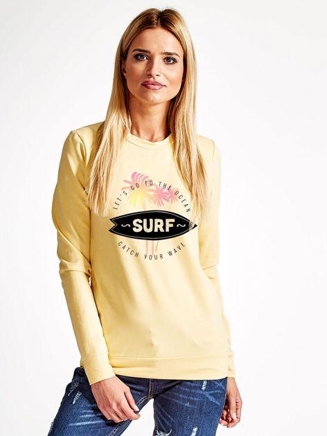 Jasnożółta bluza z surferskim nadrukiem                              zdj.                              1