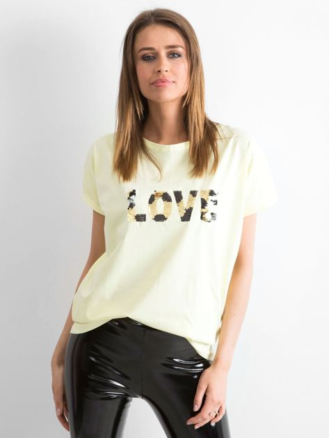 Jasnożółty luźny t-shirt Lovers