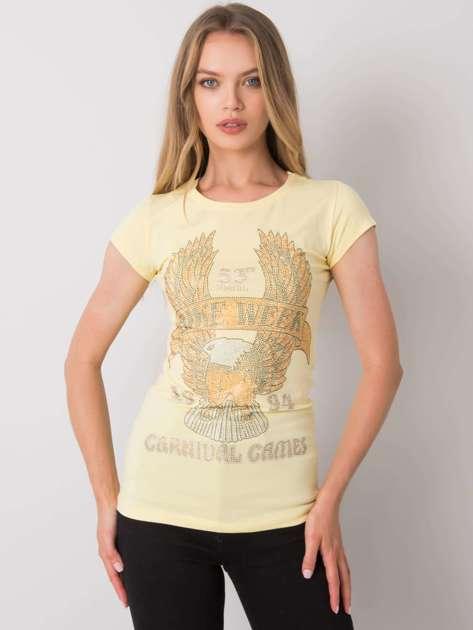 Jasnożółty t-shirt z aplikacją Haley