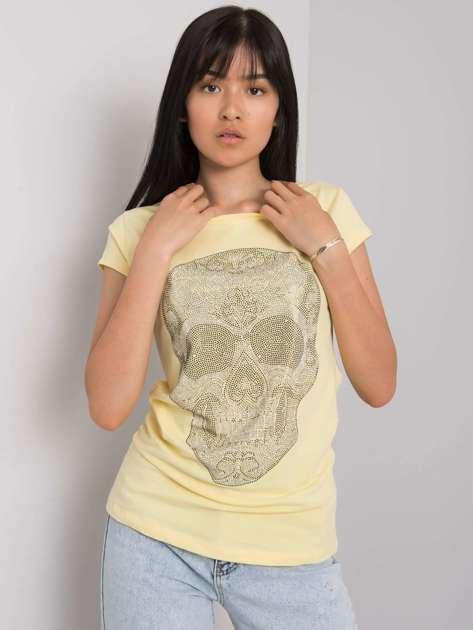 Jasnożółty t-shirt z aplikacją Skull