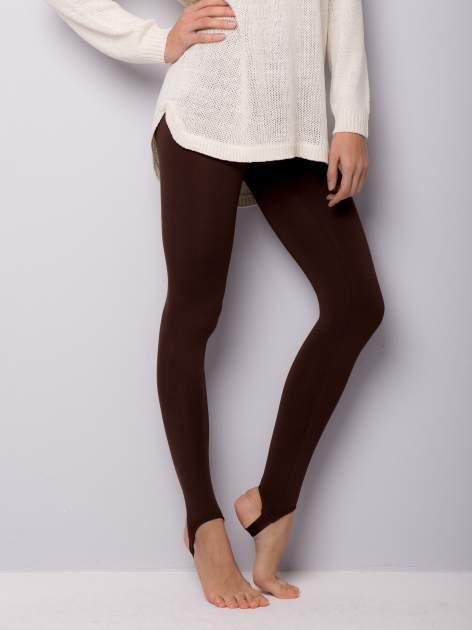 Jasobrązowe legginsy zakłdane na stopę                                  zdj.                                  2