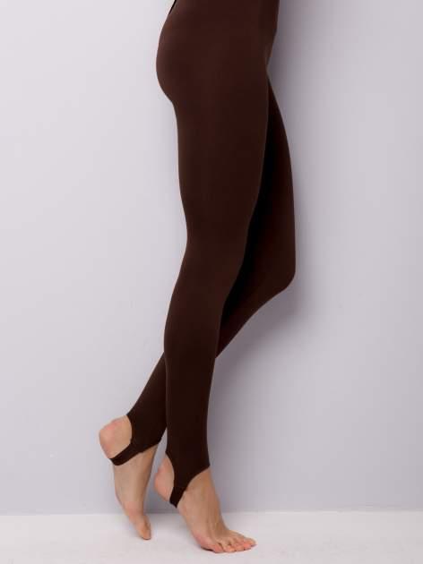 Jasobrązowe legginsy zakłdane na stopę                                  zdj.                                  4