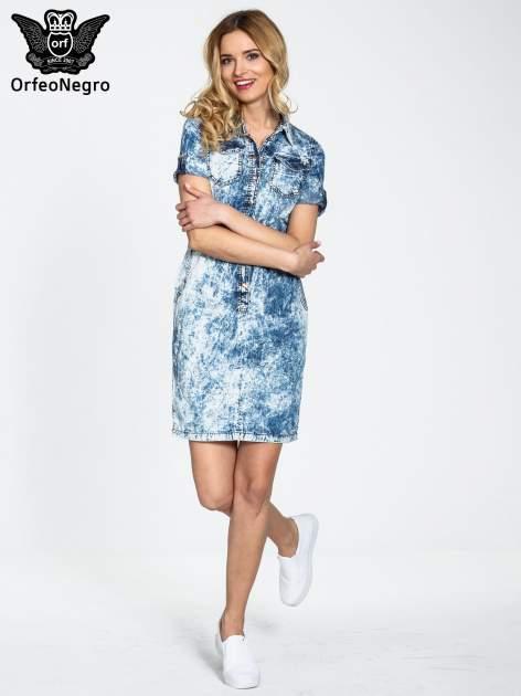 Jeansowa marmurkowa sukienka typu szmizjerka                                  zdj.                                  2