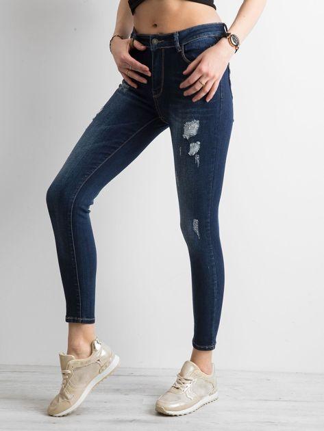 Jeansowe spodnie skinny z przetarciami niebieskie                              zdj.                              3