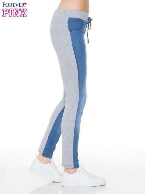 Jeansowo-dresowe spodnie typu tregginsy wiązane w pasie                                  zdj.                                  3