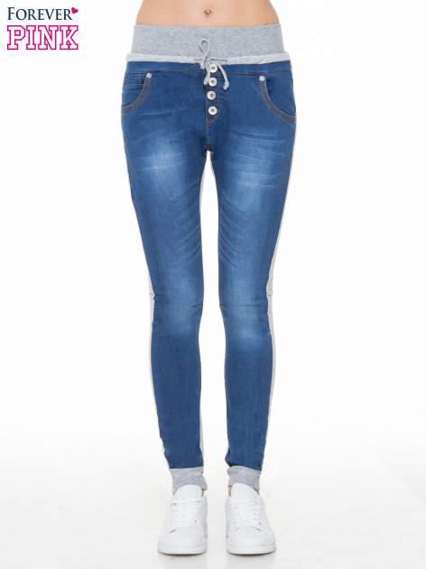 Jeansowo-dresowe spodnie typu tregginsy z wysokim pasem                                  zdj.                                  1