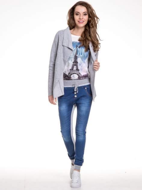 Jeansowo-dresowe spodnie typu tregginsy z wysokim pasem                                  zdj.                                  9
