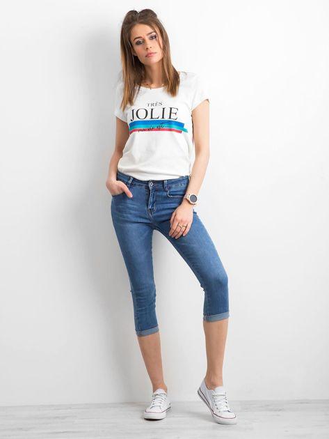 Jeansy z podwijanymi nogawkami niebieskie                              zdj.                              4