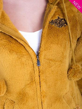 Karmelowa bluza polarowa z kapturem z uszkami i pomponami                                  zdj.                                  6