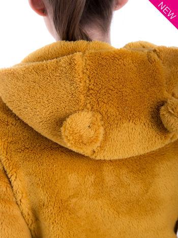 Karmelowa bluza polarowa z kapturem z uszkami i pomponami                                  zdj.                                  9
