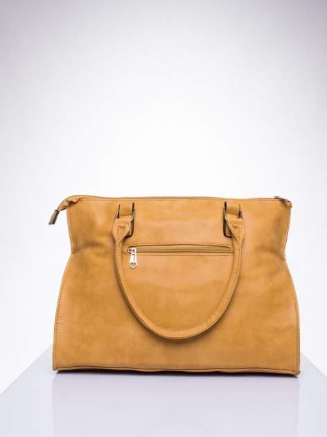 Karmelowa torba shopper bag ze złotymi ćwiekami                                  zdj.                                  3