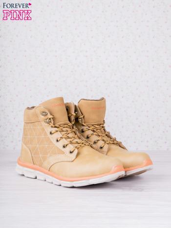 Karmelowe buty sportowe eco leather Hike z brązowymi skórzanymi wstawkami                                  zdj.                                  2