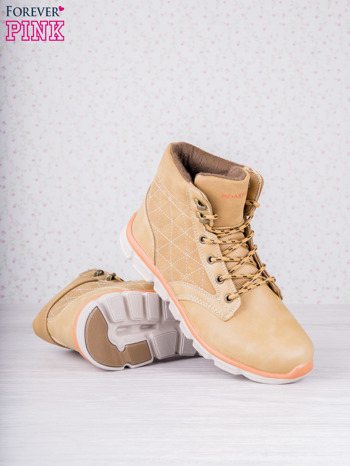 Karmelowe buty sportowe eco leather Hike z brązowymi skórzanymi wstawkami                                  zdj.                                  3