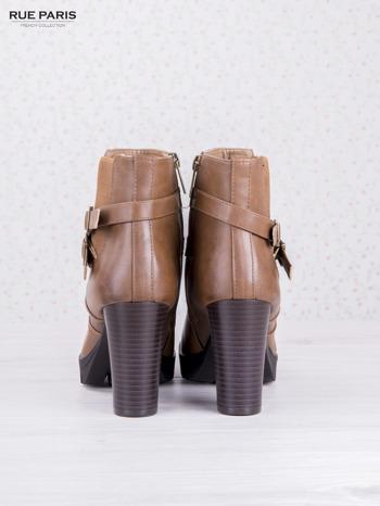 Karmelowe skórzane botki faux leather na ciemnym obcasie z gumowaną wstawką i traktorową podeszwą                                  zdj.                                  4