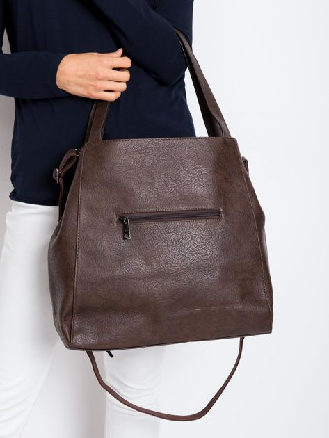 Kawowa duża torba z eko skóry                              zdj.                              2
