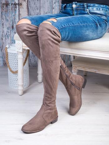 Kawowe zamszowe kozaki faux suede za kolana wiązane na sznurek nad kolanem                                  zdj.                                  3