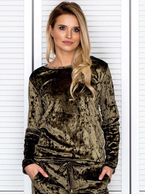 Khaki aksamitna bluza damska                               zdj.                              1