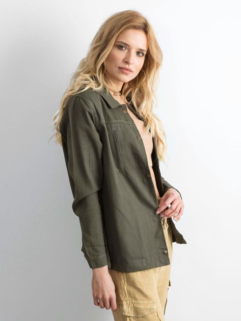 Khaki bawełniana kurtka oversize z napisem                              zdj.                              3