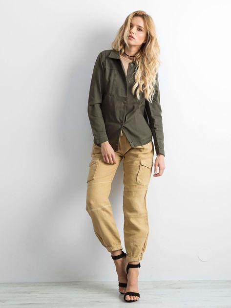 Khaki bawełniana kurtka oversize z napisem                              zdj.                              4