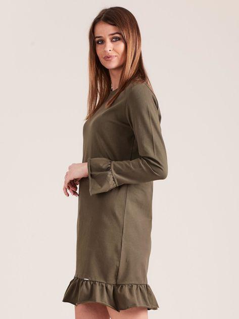 Khaki bawełniana sukienka z falbanką                              zdj.                              3