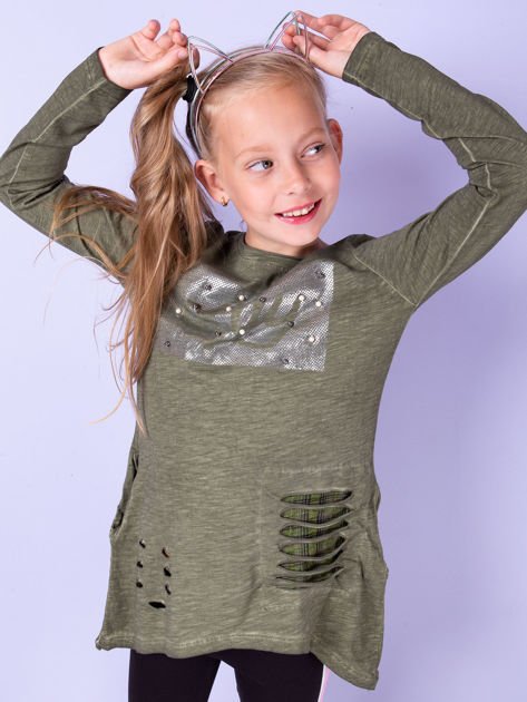 Khaki bawełniana tunika dla dziewczynki