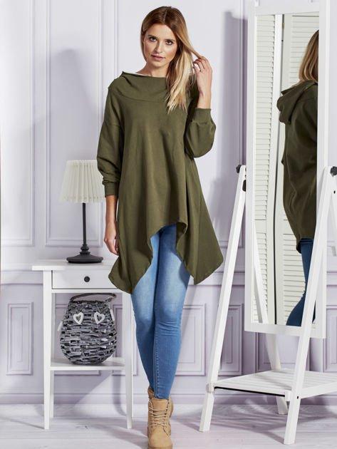 Khaki bluza oversize z kapturem                              zdj.                              4