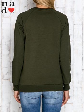 Khaki bluza z dwustronną naszywką z cekinów                                  zdj.                                  2