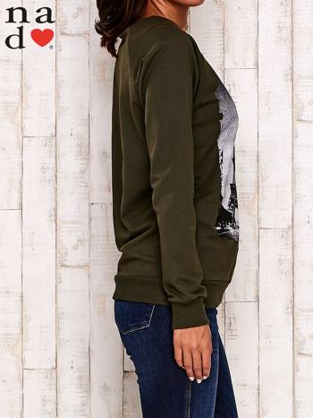 Khaki bluza z motywem Wieży Eiffla                                  zdj.                                  3