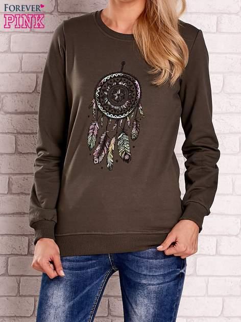 Khaki bluza z nadrukiem łapacza snów