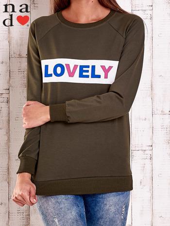 Khaki bluza z napisem LOVELY                                  zdj.                                  2