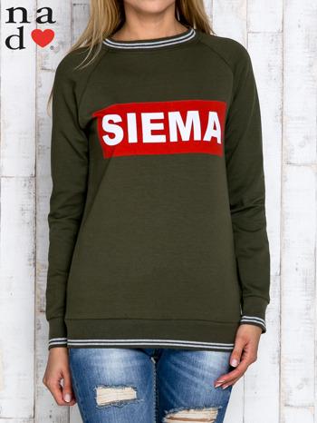 Khaki bluza z napisem SIEMA                                  zdj.                                  1