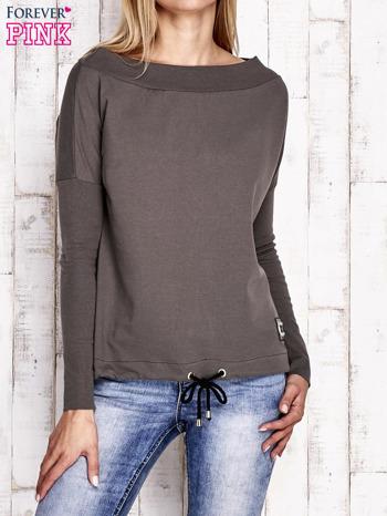 Khaki bluza z szerokim ściągaczem i troczkami                                  zdj.                                  1