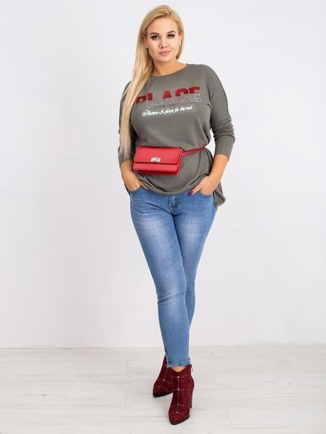 Khaki bluzka plus size Gracie                              zdj.                              4