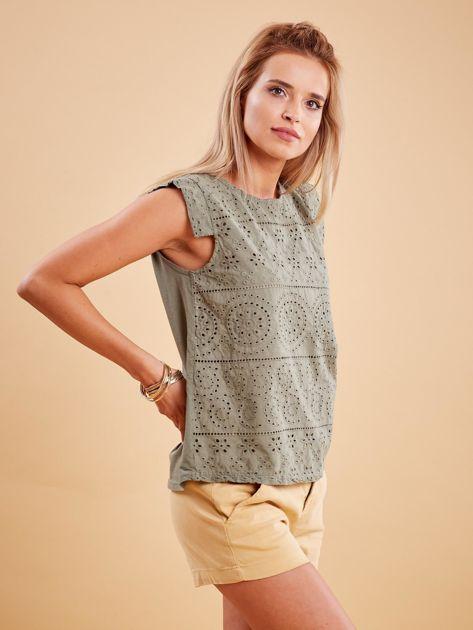 Khaki bluzka z ażurowym wzorem                              zdj.                              3