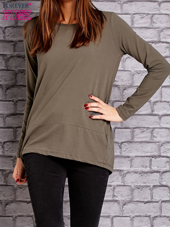 Khaki bluzka z wiązaniem na plecach                                  zdj.                                  1