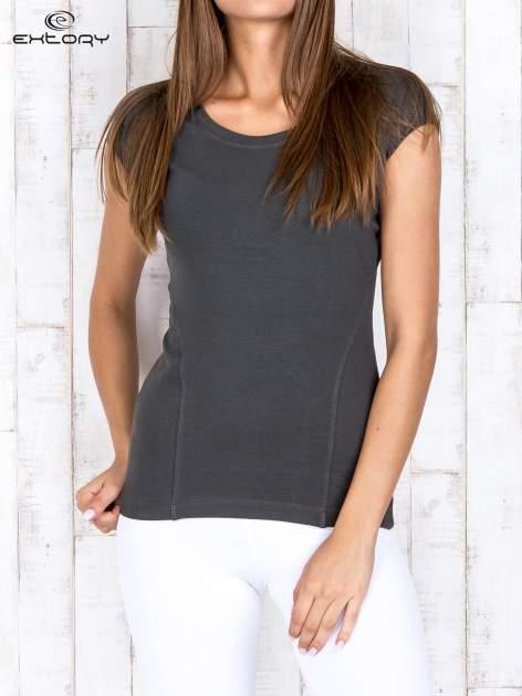 Khaki damski t-shirt sportowy basic                                  zdj.                                  1