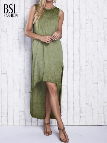 Khaki dekatyzowana sukienka maxi z dłuższym tyłem                                  zdj.                                  1