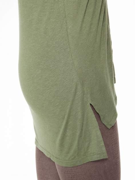 Khaki długi t-shirt z łączonych materiałów                                  zdj.                                  7