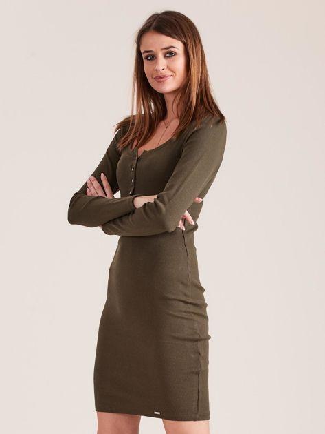 Khaki dopasowana sukienka z guzikami                              zdj.                              3