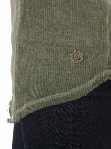 Khaki dresowa sukienkotunika z zaokrąglonym dołem                                  zdj.                                  6