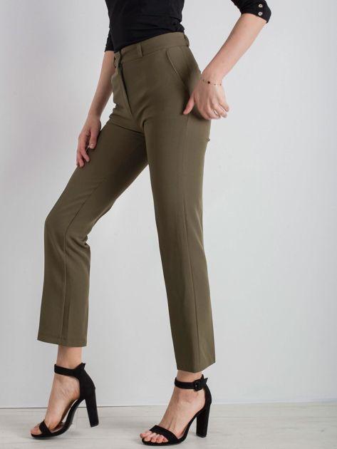 Khaki eleganckie spodnie                              zdj.                              3