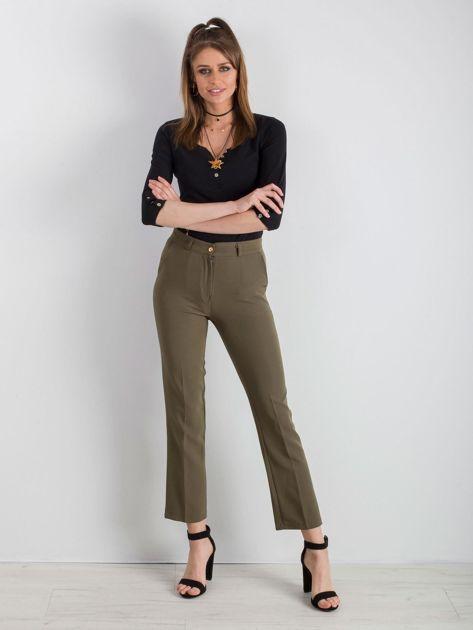 Khaki eleganckie spodnie                              zdj.                              4