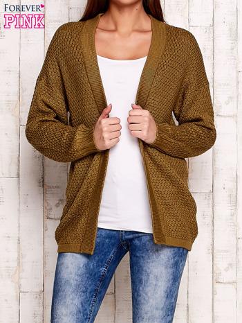 Khaki fakturowany otwarty sweter                                   zdj.                                  1