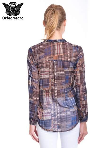 Khaki koszula damska w kratę                                  zdj.                                  2