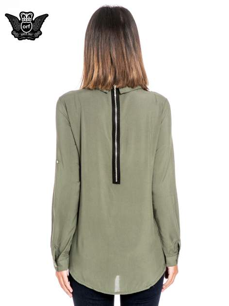 Khaki koszula damska z zamkiem z tyłu                                  zdj.                                  2