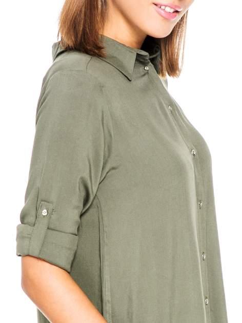 Khaki koszula damska z zamkiem z tyłu                                  zdj.                                  7