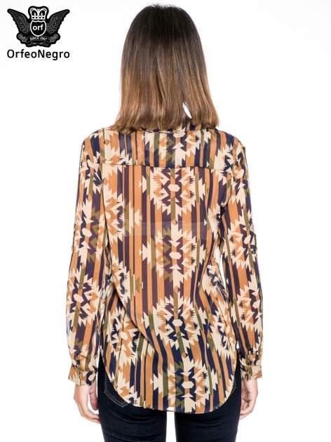 Khaki koszula w etniczne wzory z kieszonką                                  zdj.                                  2