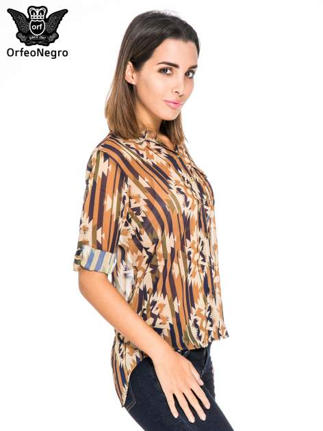 Khaki koszula w etniczne wzory z kieszonką                                  zdj.                                  5