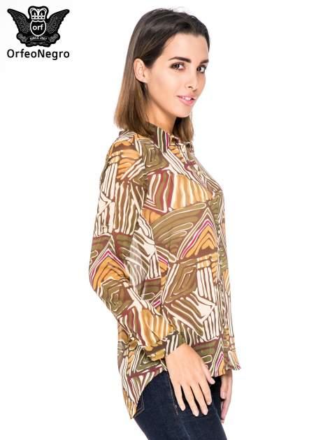 Khaki koszula w kolorowe zygzaki                                  zdj.                                  3