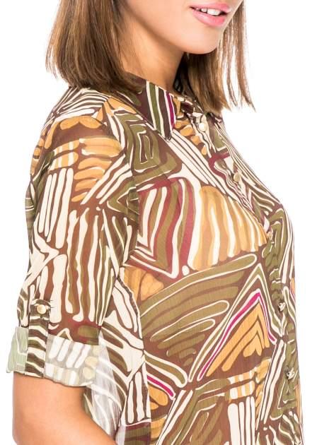 Khaki koszula w kolorowe zygzaki                                  zdj.                                  6